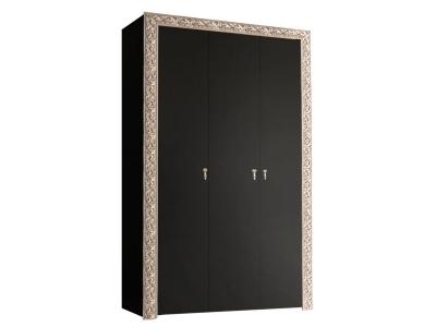 Шкаф 3-х дверный для платья и белья без зеркал ТФШ2/3(П) Тиффани Премиум Черное серебро