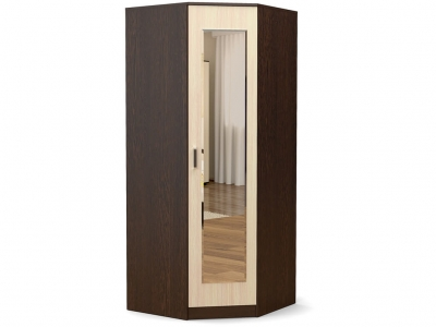 Шкаф Эксон угловой с зеркалом Венге - Дуб млечный