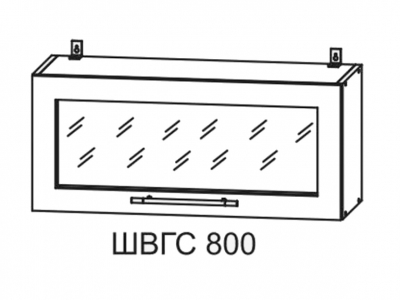 Шкаф верхний 800мм горизонт со стеклом ПГС 350х800мм МДФ сандал Империя