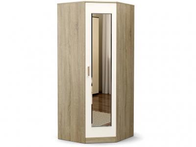 Шкаф Эксон угловой с зеркалом Дуб сонома - Белый