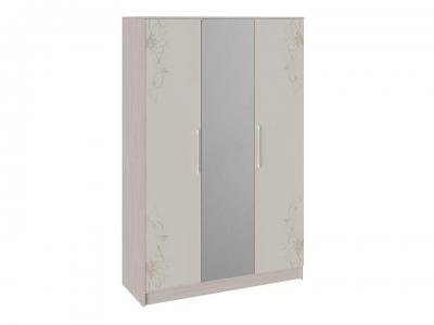 Шкаф комбинированный Мишель Ясень шимо, Бежевый глянец с рисунком