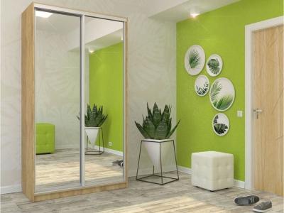 Шкаф-купе Ксения дуб сонома с двумя зеркалами