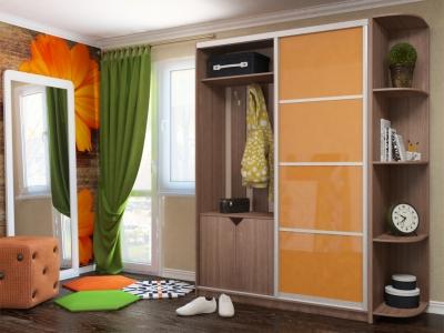 Шкаф-купе прихожая с угловым элементом МДФ Ирина шимо темный-оранжевый