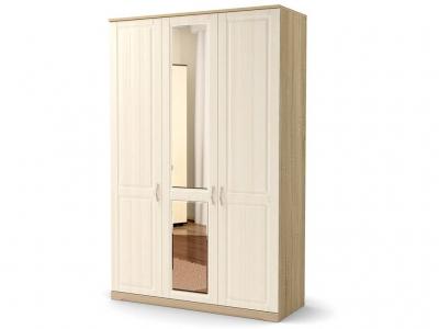 Шкаф Лаура 3-х с зеркалом с цоколем Дуб сонома - МДФ Лён жемчужный