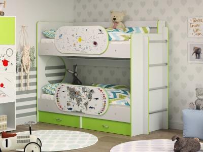 Двухъярусная кровать Умка с ящиками и двумя бортиками лайм