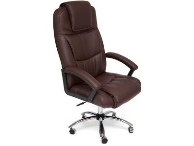 Кресло Bergamo хром + кож.зам Коричневый (36-36)