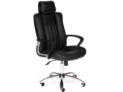 Кресло Oxford хром кож.зам Чёрный + Чёрный перфорированный (36-6/36-6/06)