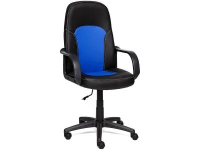 Кресло Parma кож.зам Чёрный + Синий 36-6/36-39