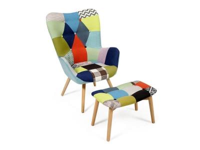 Кресло Secret De Maison Kontour с оттоманкой Мультицвет (mod.1534l)