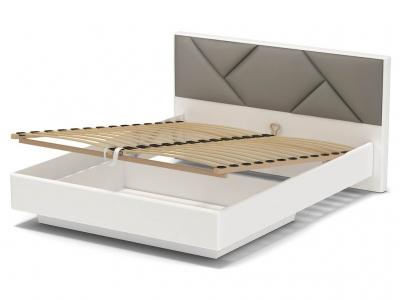 Кровать 160 Аида ПМ Белый - МДФ Топлёное молоко - ткань Энигма серебро