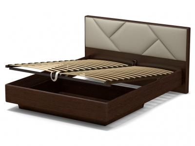 Кровать 160 Аида ПМ Венге - МДФ Орех премиум - ткань Энигма бежевый