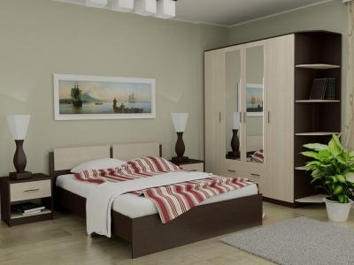 Кровать 160 Танго с основанием Венге - Дуб млечный