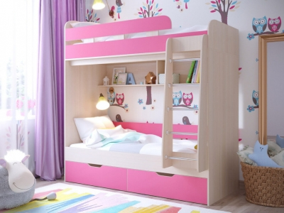Кровать двухъярусная Юниор 5 дуб-розовый