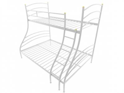 Кровать металлическая двухъярусная Глория белая