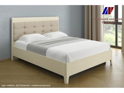 Кровать с мягким изголовьем КР-1073 1600х2000 Дуб Беленый - комбинированный