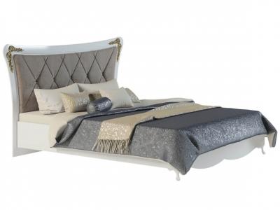 Кровать с мягкой спинкой Аделина А 2.0.5 Белый глянец-Золото