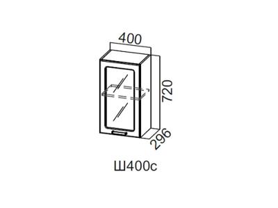 Кухня Геометрия Шкаф навесной со стеклом 400 Ш400с 720х400х296мм