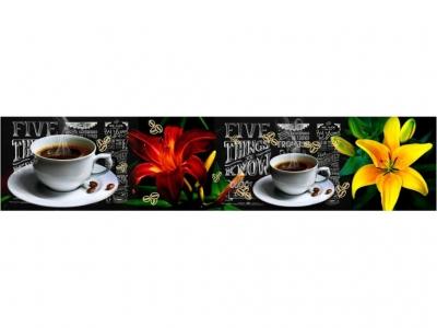 Кухонный фартук эффект мерцания Композит Лилия и Кофе