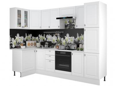 Кухонный гарнитур Ева угловой с пеналом Белый Софт