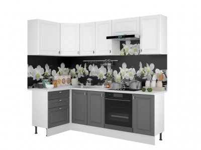 Кухонный гарнитур угловой Ева 1200х2400 Белый Софт-Графит