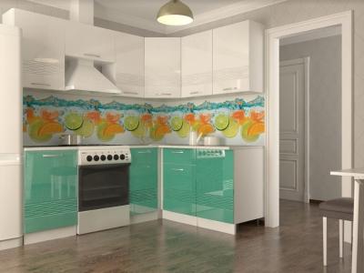 Кухонный гарнитур угловой Волна белый металлик бирюза 2100х1600