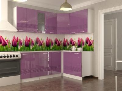 Кухонный гарнитур угловой Волна фиолетовый металлик 2000х1400