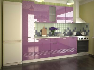 Кухонный гарнитур Волна фиолетовый металлик 2200