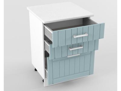 Нижний шкаф Н 600 3 ящика 850х600х600 Прованс Роялвуд голубой