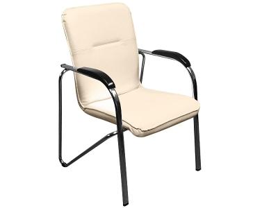Офисный стул Самба хром орех Скаден бежевый