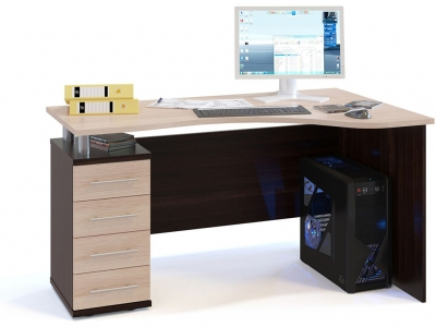 Письменный стол Сокол КСТ-104.1 левый Венге/Беленый дуб
