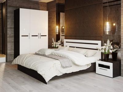 Спальный гарнитур Фьюжн ГН-260.103 Белый глянец, Венге Линум