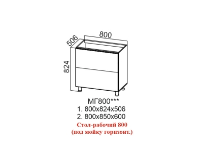 Стол-рабочий 800 под мойку горизонт Лофт МГ800