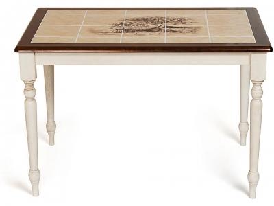 Стол с плиткой (ct3045p) Античный Белый + Тёмный Дуб + Рисунок Прованс