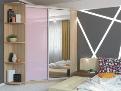 Угловой шкаф-купе Анна МДФ с угловым элементом шимо светлый-розовый