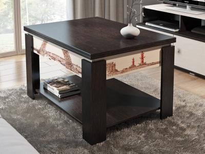 Журнальный столик-трансформер тип 6 с рисунком Венге Цава, Дуб Молочный