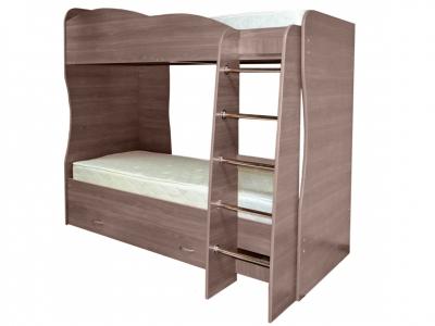 Кровать детская двухъярусная Юниор-2 Ясень шимо темный