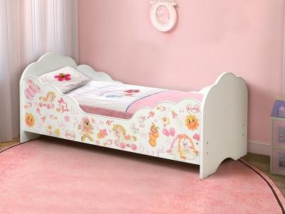 Кровать детская с бортом Малышка №4 белая с фотопечатью