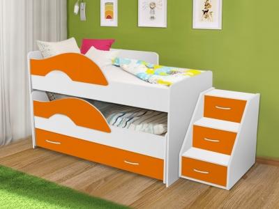 Кровать выкатная Радуга с ящиками и лестницей белый-оранж