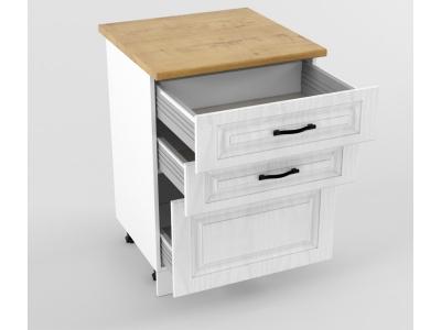 Нижний шкаф Н 600 3 ящика 850х600х600 Белый Вегас