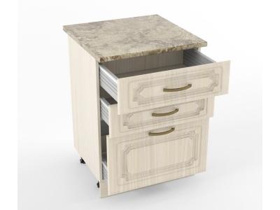 Нижний шкаф Н 600 3 ящика 850х600х600 Грецкий орех