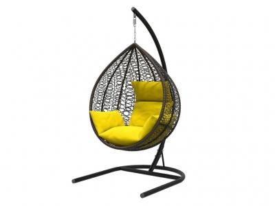 Подвесное кресло Бароло черная рама подушки желтые