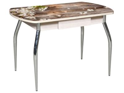 Стол со стеклом Грация-2 с ящиком 1200