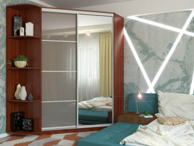 Угловой шкаф-купе Анна МДФ с угловым элементом итальянский орех-серый